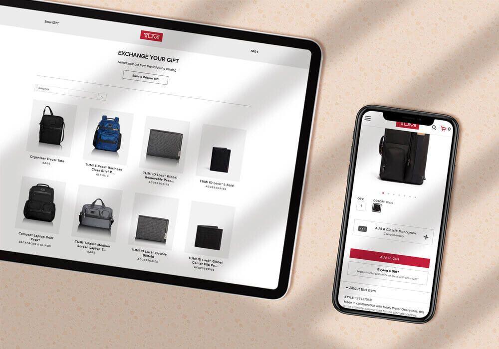 Stills from the TUMI SmartGift consumer gift platform